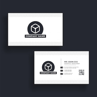 Horizontal business card with front and back presentation.