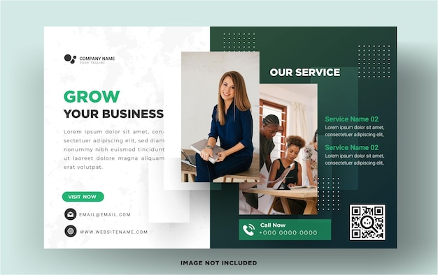 Horizontal business flyer template with elegant design