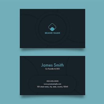 Horizontal business template or visiting card in dark teal color.
