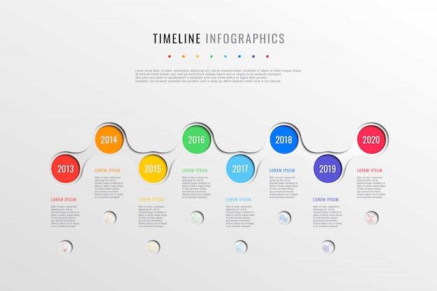 8ラウンド要素、年表示、白い背景上のテキストボックスと水平ビジネスタイムライン