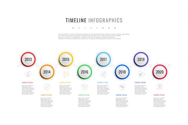 8つのラウンド要素、年表示、テキストボックスを備えた水平ビジネスタイムライン