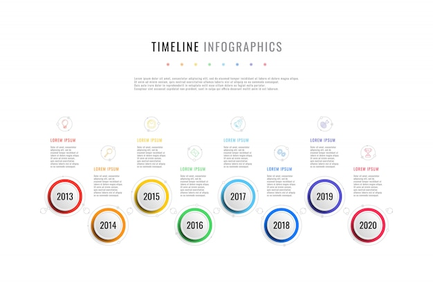 Horizontal business timeline with 8 round elements, year indication  text boxes on white background. realistic 3d per cut infographic. modern  company presentation slide template.