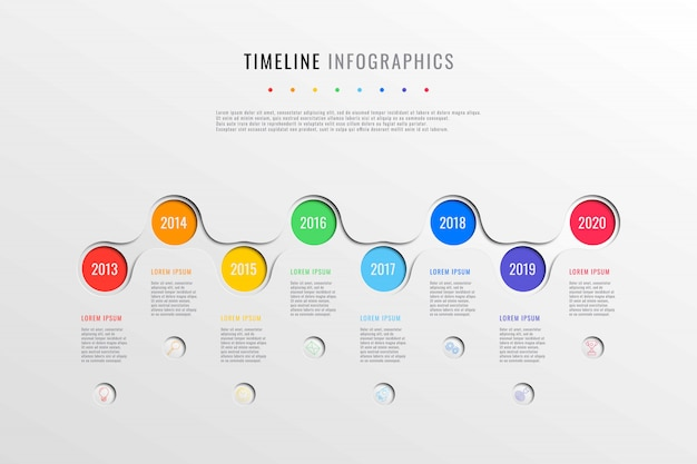 Horizontal business timeline with 8 round elements, year indication and text boxes on white background