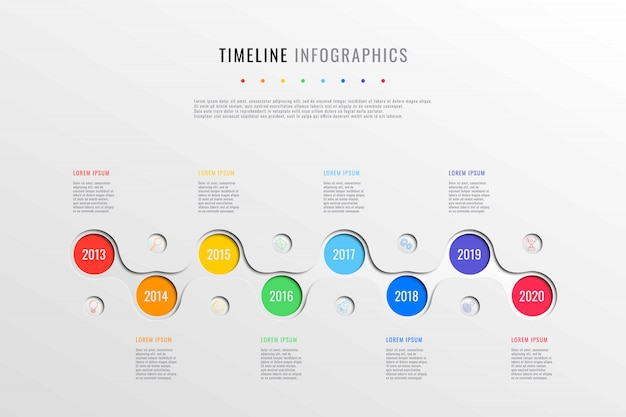 Horizontal business timeline with 8 round elements, year indication and text boxes on white