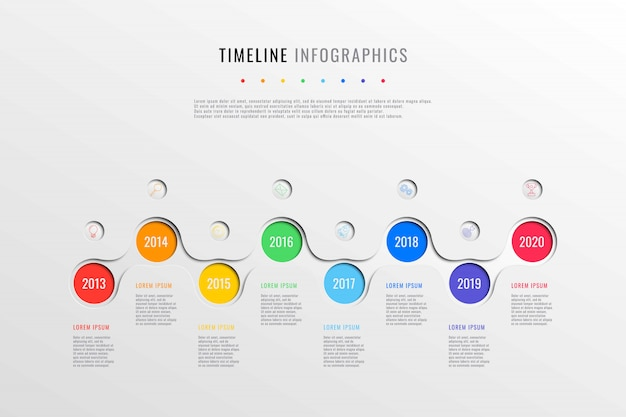 Horizontal business timeline with 8 round elements, year indication and text boxes