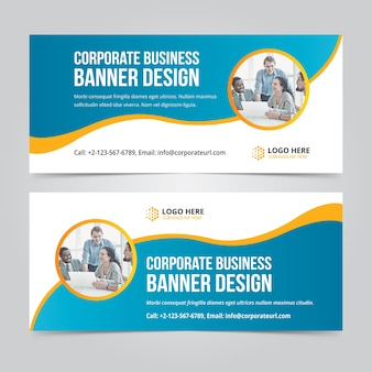 Horizontal business web banner set vector templates