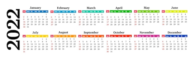 Horizontal calendar for 2022 isolated on a white background. sunday to monday, business template. vector illustration