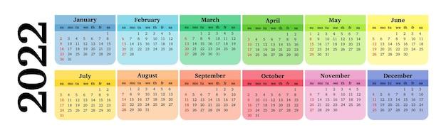 白い背景で隔離の2022年の水平カレンダー。日曜日から月曜日、ビジネステンプレート。ベクトルイラスト