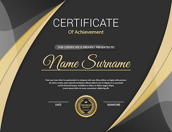 Horizontal certificate black and gold with medal