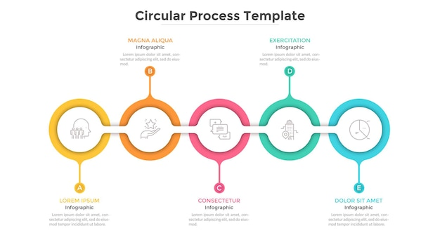 Horizontal chain with 5 connected round paper white links. concept of five steps of progressive business development. flat infographic design template. clean vector illustration for presentation.