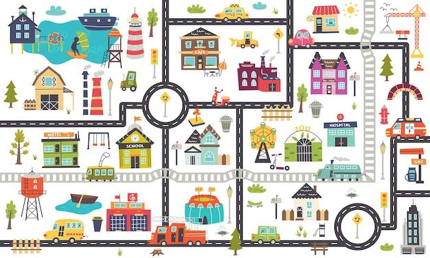 道路、車、建物の水平方向の子供用マップ。ポスター、カーペット、子供部屋の保育園のデザイン。ベクトルイラスト
