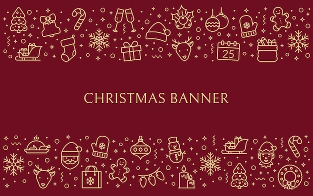 Horizontal christmas banner with holiday outline icons and copy space for your text