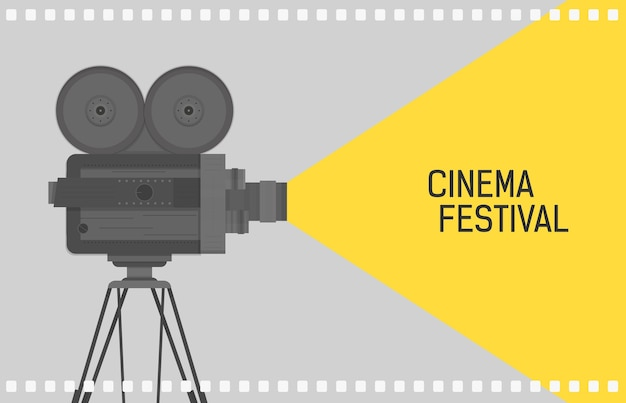 Horizontal for cinema festival with retro camera or movie projector standing on tripod