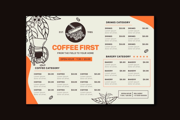 Horizontal coffee shop restaurant menu template