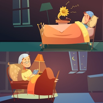 Horizontal color banners depicting man in bed