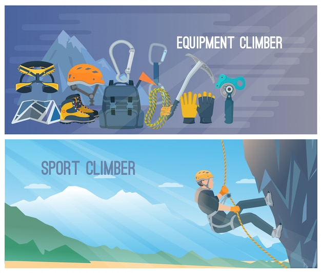 Banner orizzontali a colori con titolo sull'equipaggiamento dello scalatore e lo sport