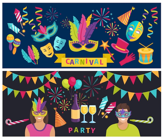 Horizontal color flat background depicting decoration and elements of carnival party vector illustration