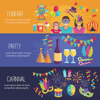 Horizontal color flat banners depicting elements of carnival funfair party