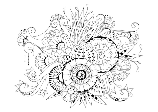 花とつぼみの水平のぬりえ。黒白イラスト