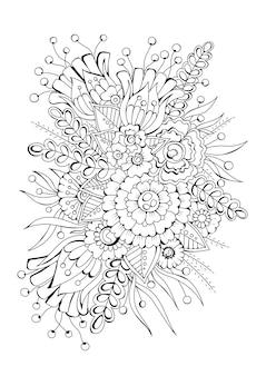 花の水平着色ページ。黒白の背景、イラスト。