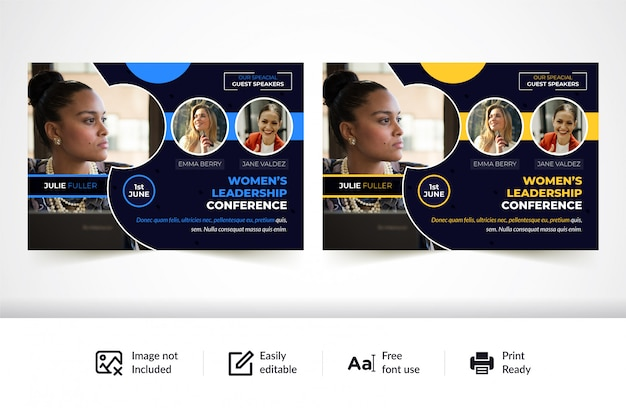Horizontal conference flyer template
