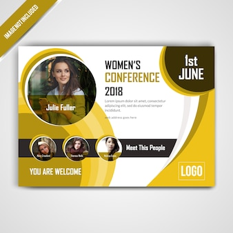 Horizontal conference yellow flyer design