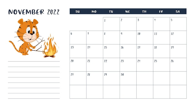 Horizontal desktop calendar page template for november 2022. tiger roasts marshmallows on fire