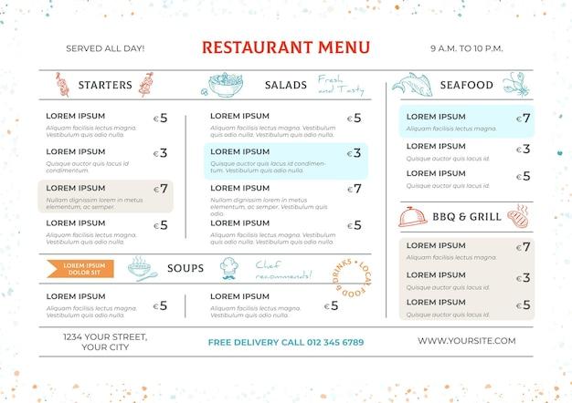 Шаблон горизонтального цифрового меню ресторана
