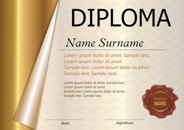 Horizontal diploma or certificate template with wax seal. gold curled paper.
