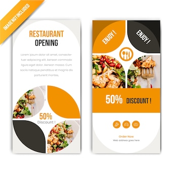 Horizontal discount food banner for restaurant