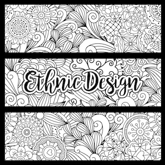 Horizontal doodle backgrounds with ethnic design