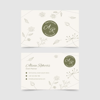 Horizontal double-sided business card template in floral style