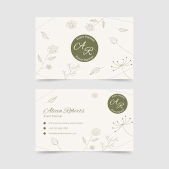 Горизонтальный шаблон двусторонней визитки в цветочном стиле