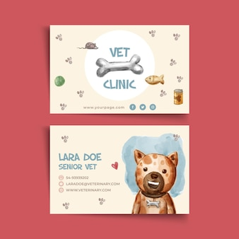 Horizontal double-sided business card template for veterinary clinic
