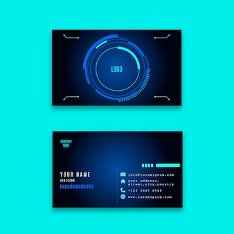 Horizontal double-sided business card template with futuristic technology