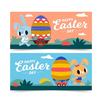 Horizontal easter banners collection