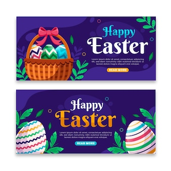 Horizontal easter banners set