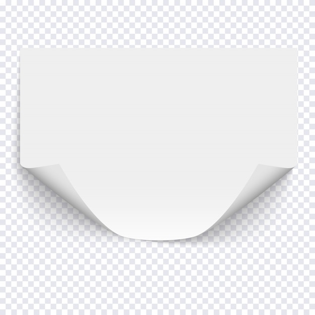 Horizontal empty paper sheet on transparent background