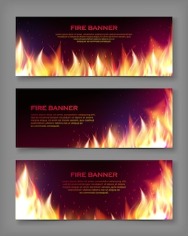 Horizontal fire flame banner template set