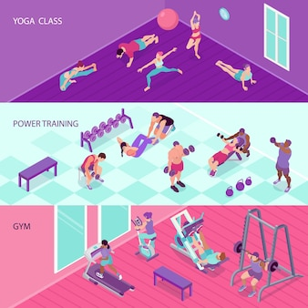 Horizontal fitness banners set with people in gym and at yoga class 3d isometric isolated