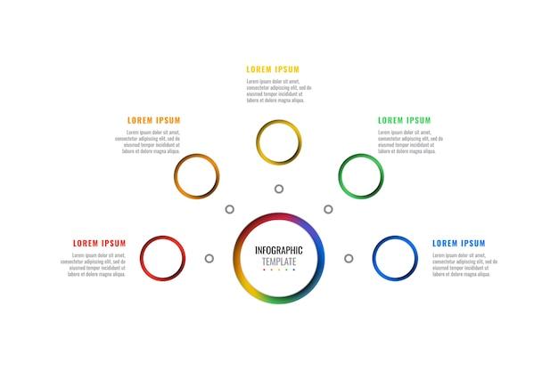 Горизонтальный пять шагов дизайн макета инфографики шаблон с круглыми 3d реалистичными элементами. диаграмма процесса