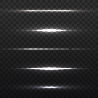 水平フレア。レーザービーム、水平光線。