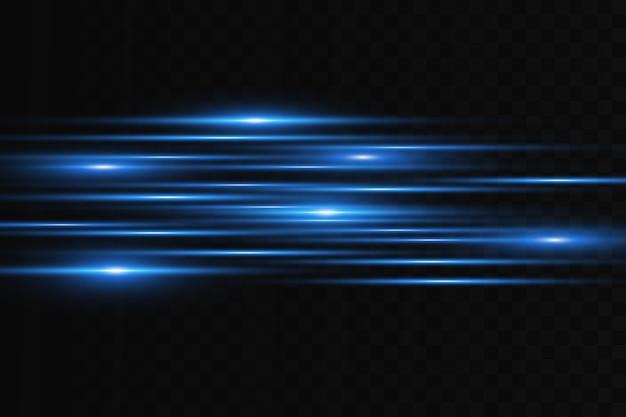 Horizontal flare. laser horizontal beams, light beams. bright stripes on a dark background.