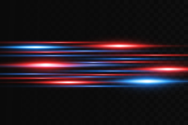 Horizontal flare. laser horizontal beams, light beams. bright stripes on a dark background.