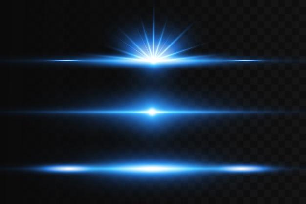 Горизонтальная засветка. лазерные горизонтальные лучи, световые лучи. яркие полосы на темном фоне.