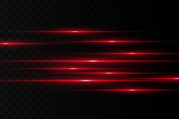 水平フレア。レーザー水平ビーム、光線。暗い背景に明るいストライプ。