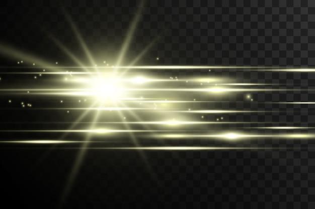 수평 플레어. 레이저 수평 빔, 광선. 어두운 배경에 밝은 줄무늬.