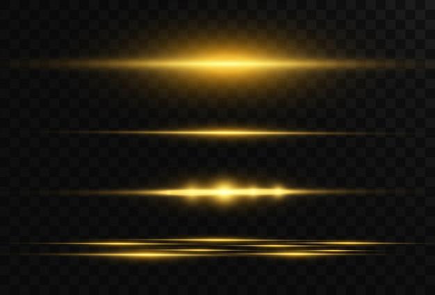 Horizontal flare. laser horizontal beams, light beams. bright stripes