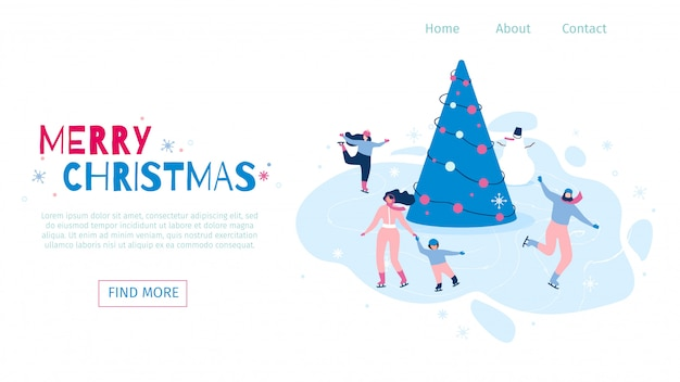 Horizontal flat banner vector marry christmas.
