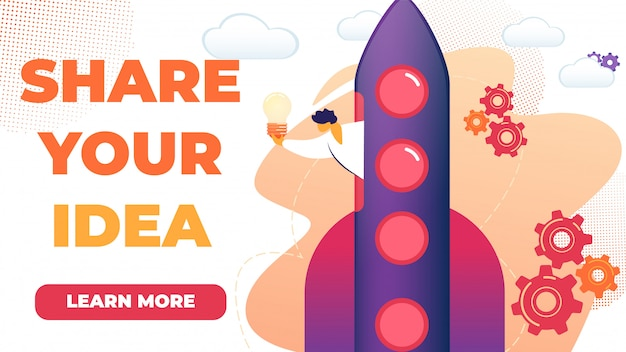 Horizontal flat banner written share your idea.